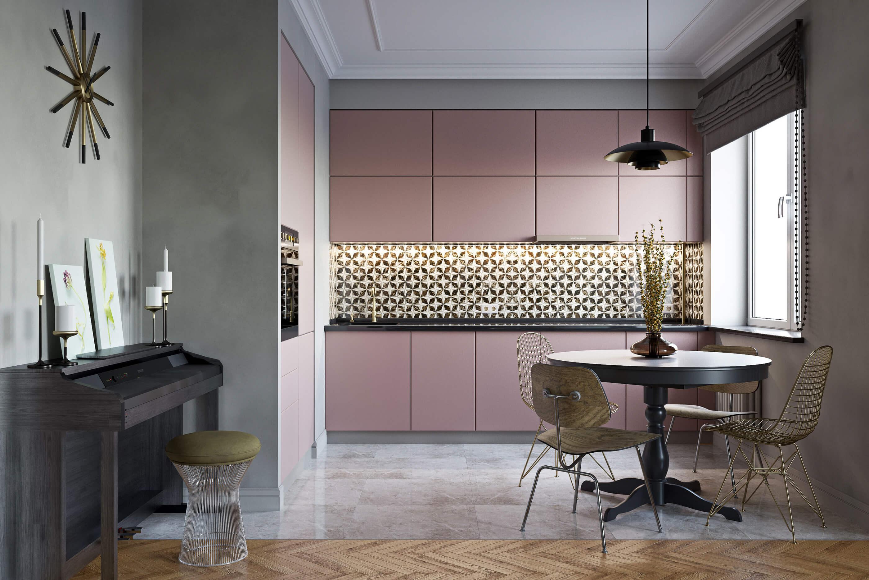 mẫu tủ bếp màu pastel