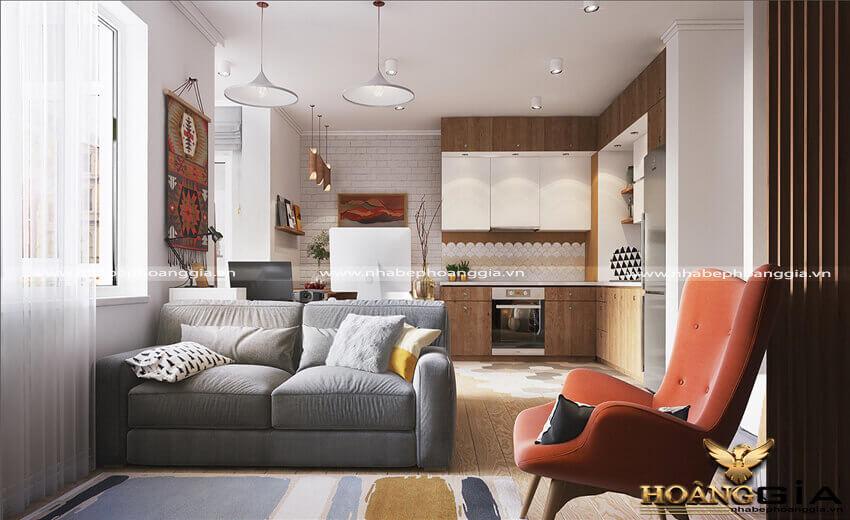 thiết kế phòng khách liền bếp nhà chung cư