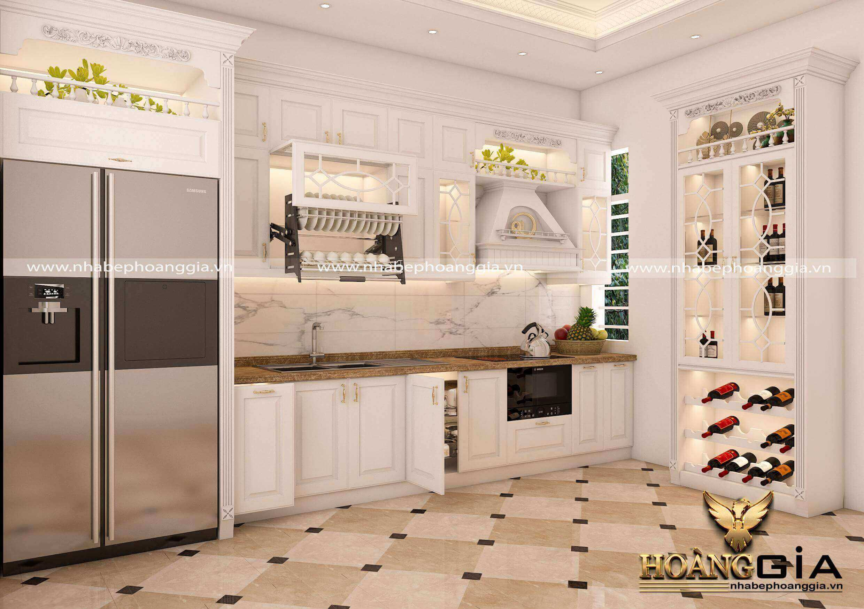 thiết kế tủ bếp nhà lô phố