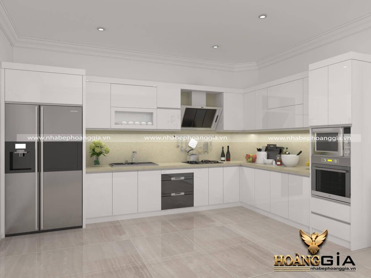 mẫu tủ bếp Acrylic sơn trắng đẹp nhất 2019