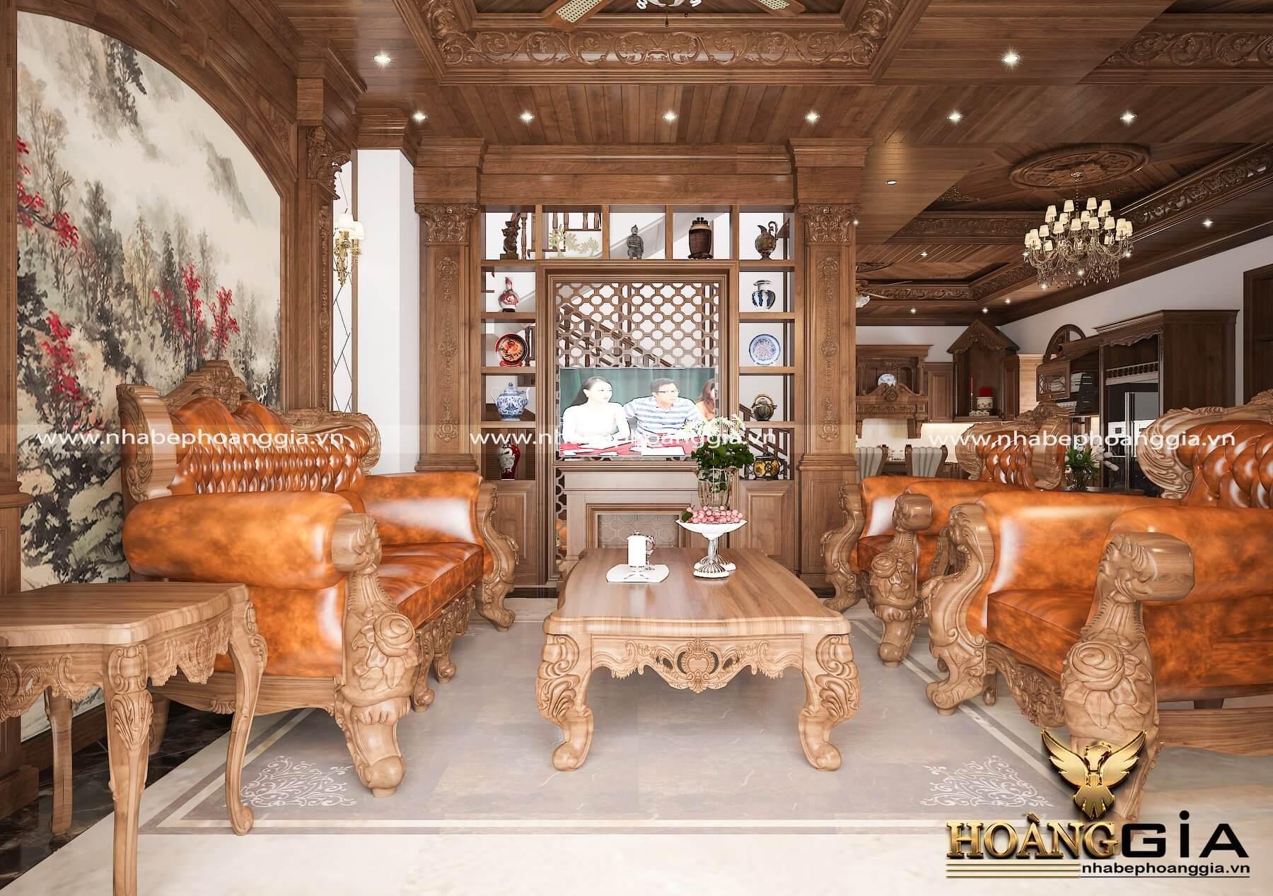 mẫu sofa gỗ gõ đỏ 2020