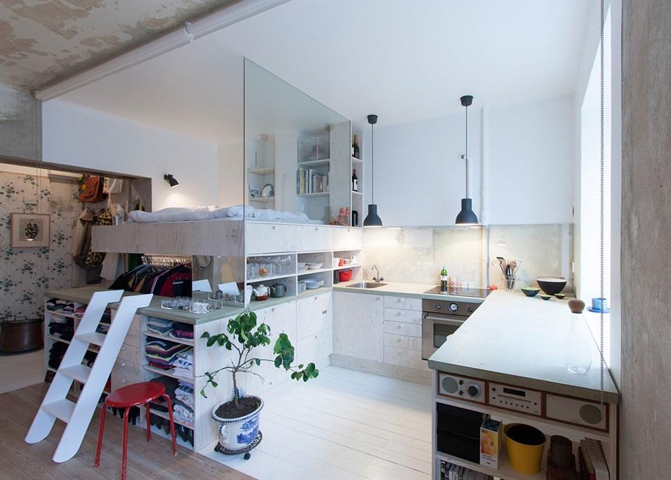 nhà bếp kết hợp với phòng ngủ