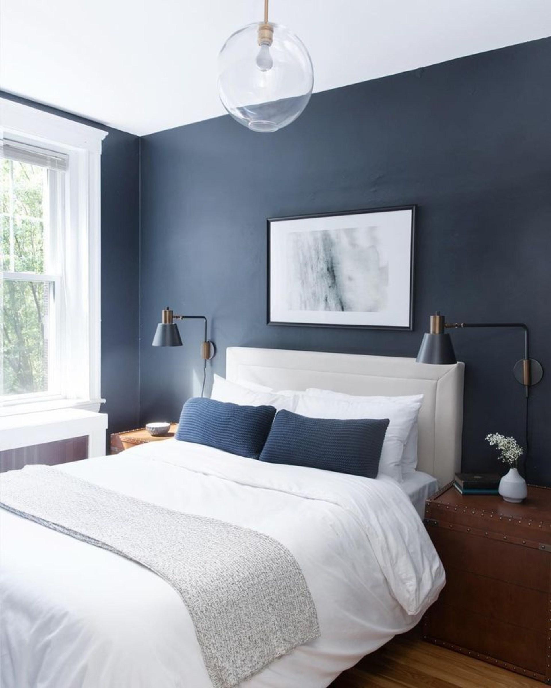 phòng ngủ màu xanh navy đẹp