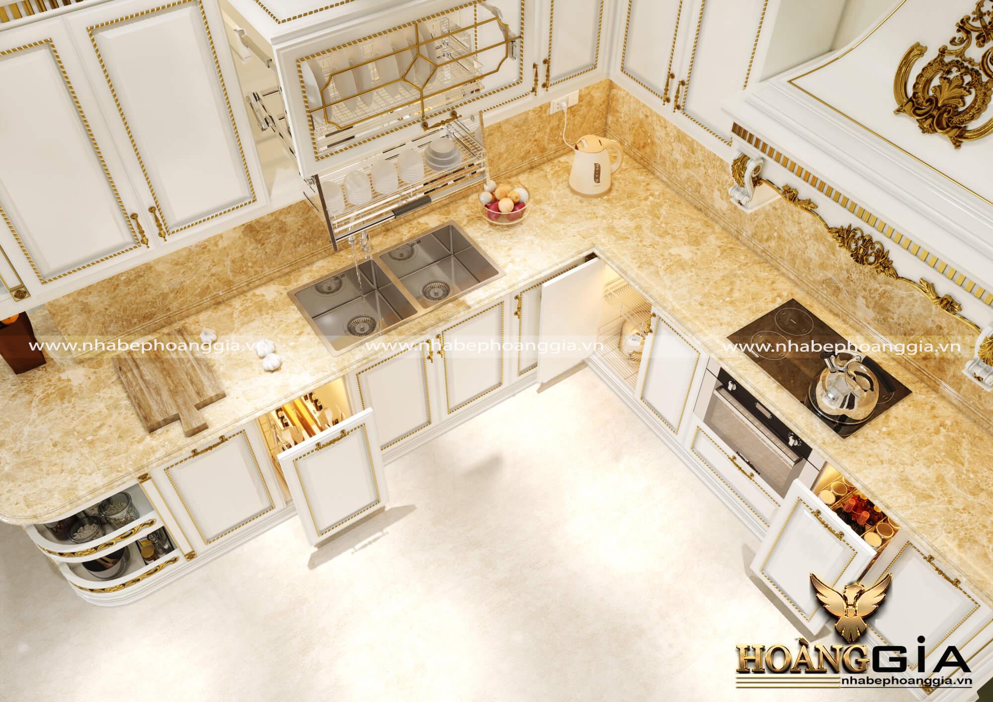 thiết kế bàn bếp bằng đá cẩm thạch
