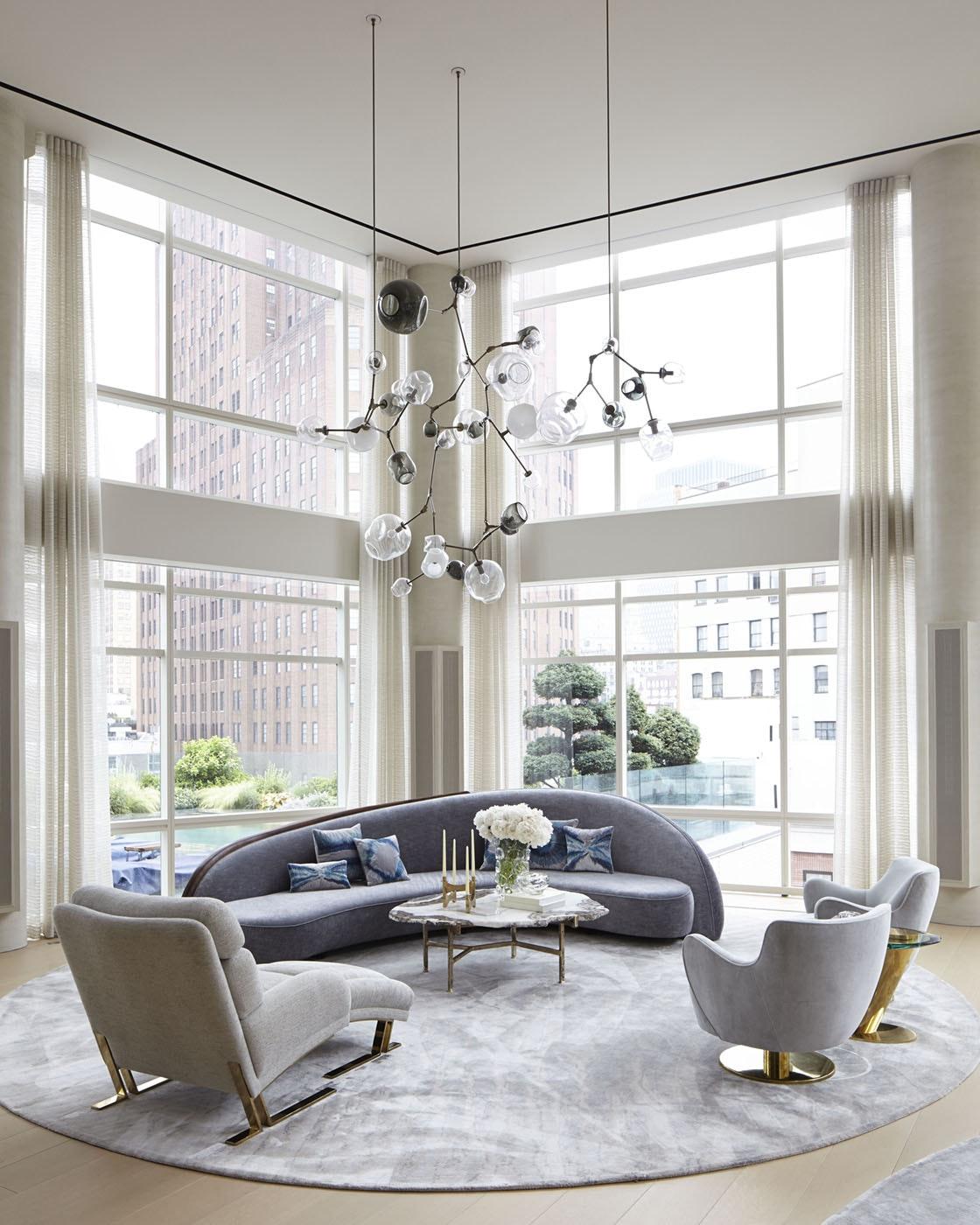 thiết kế phòng khách trần cao