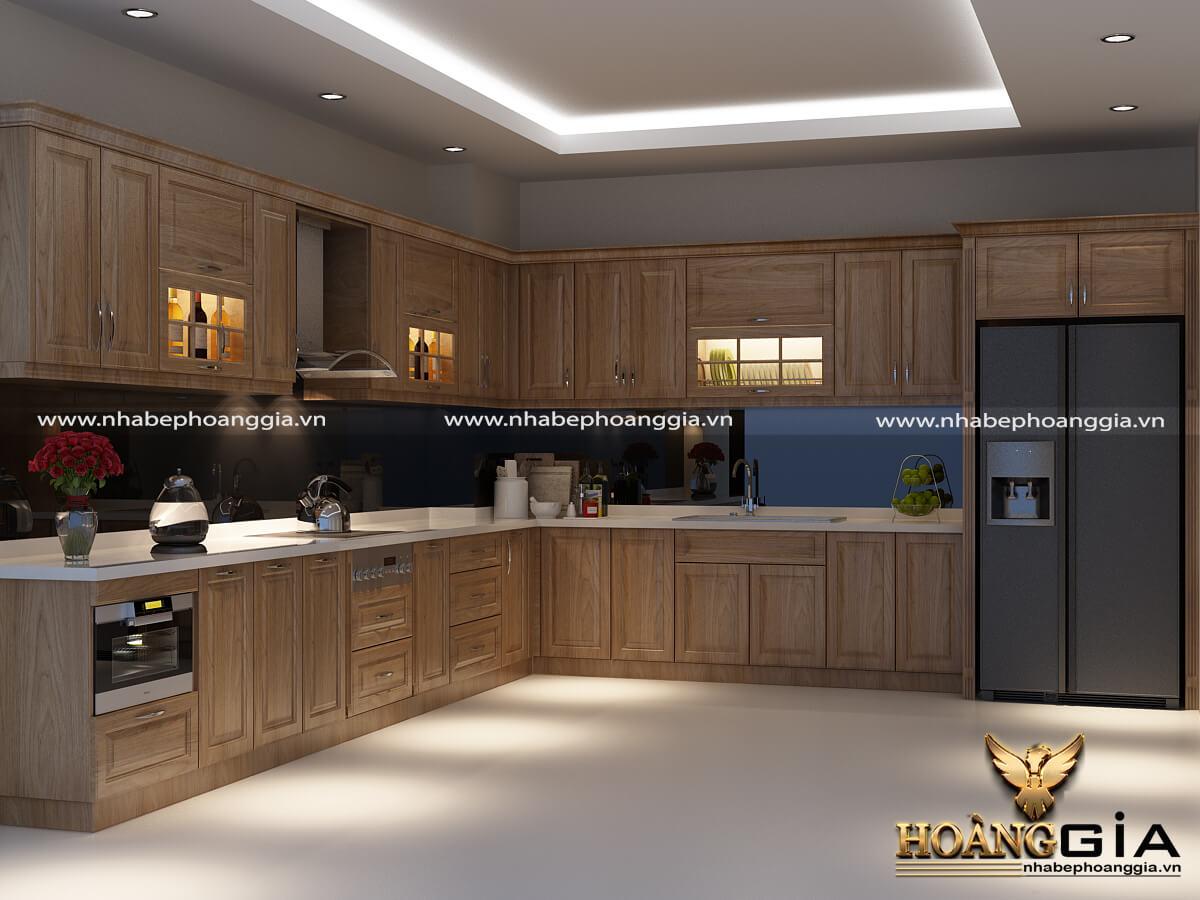 tủ bếp chữ L gỗ tự nhiên 2020
