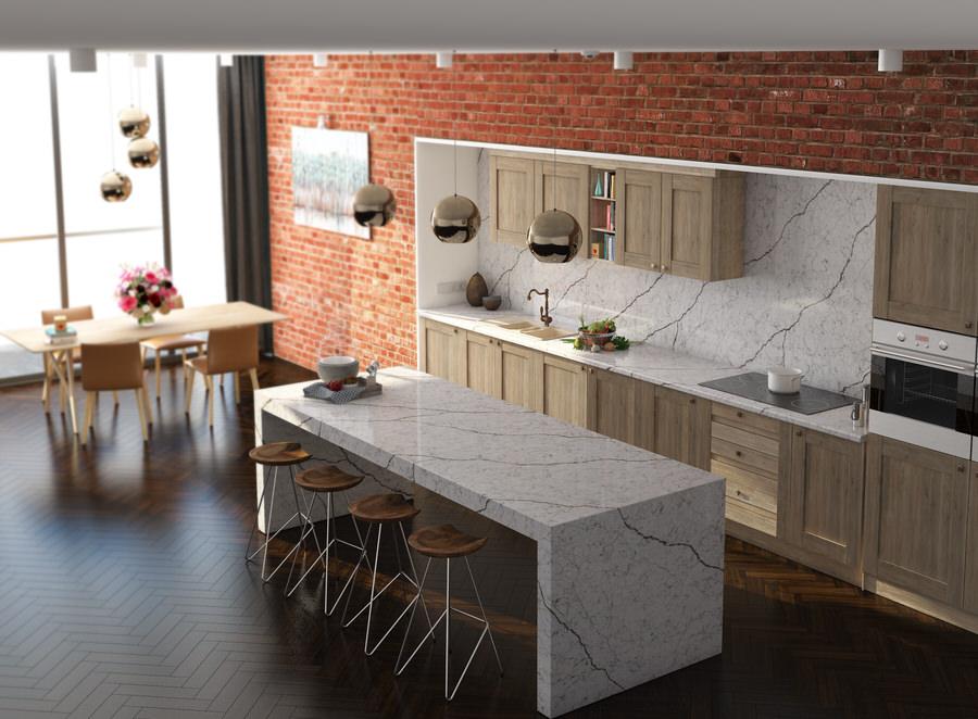 có nên sử dụng đá kim sa trắng làm mặt bàn bếp không