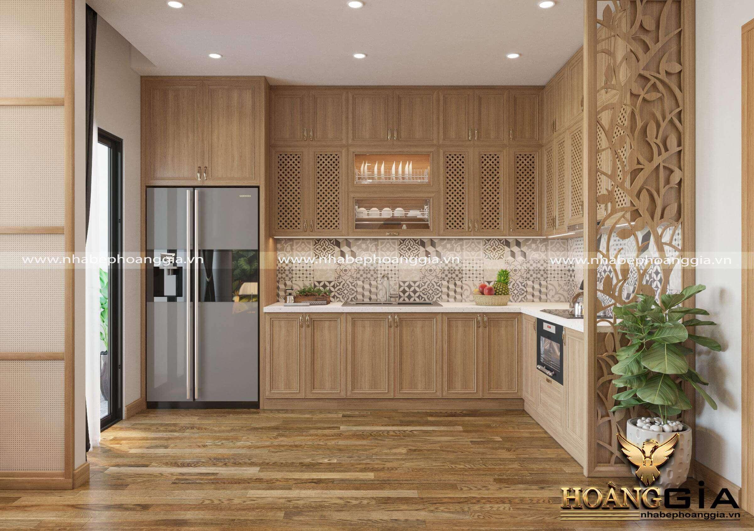 mẫu tủ bếp gỗ nhỏ đẹp 2020