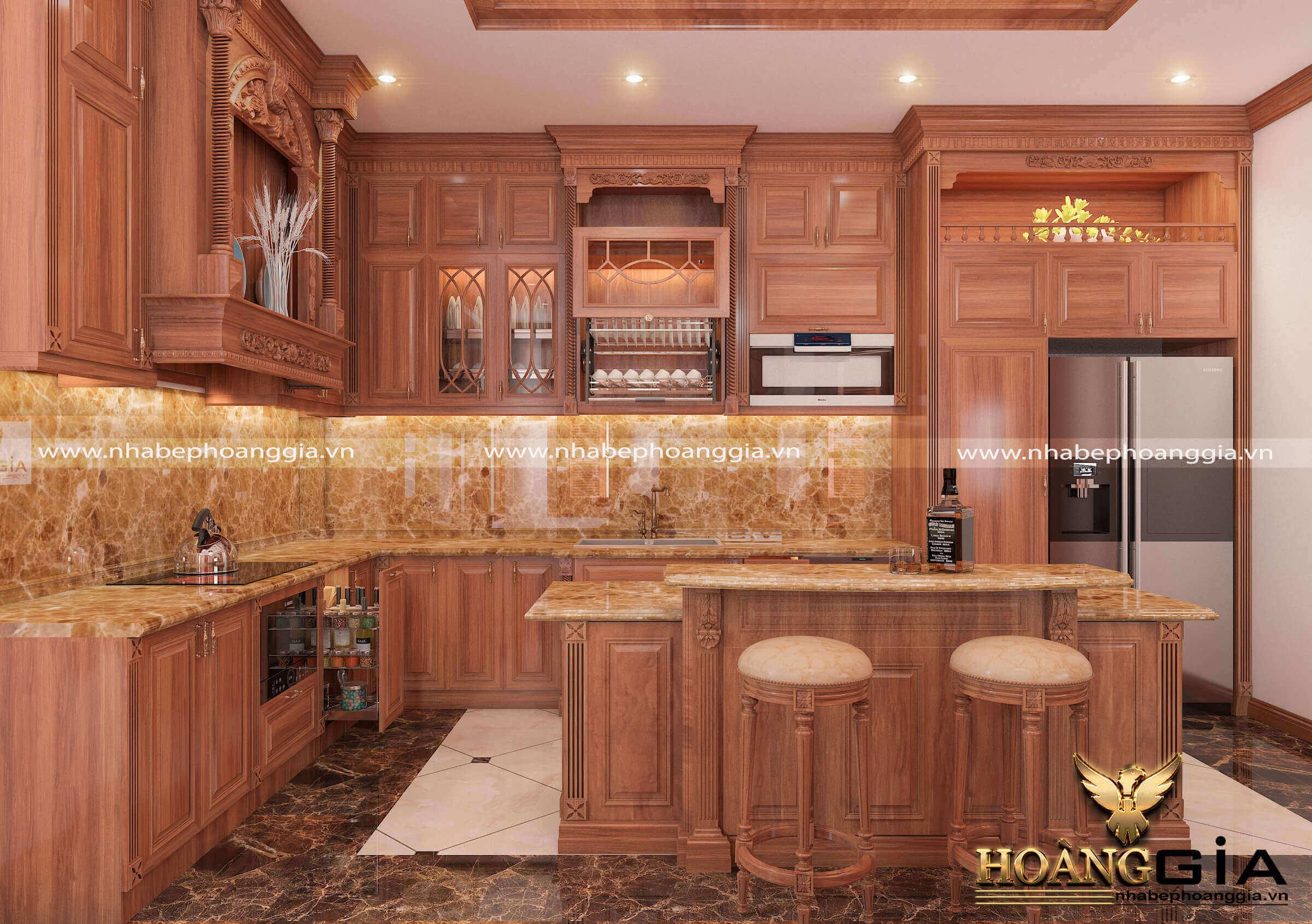 tại sao giá thành tủ bếp gỗ gõ đỏ luôn cao