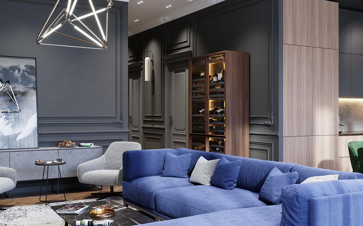 thiết kế căn hộ tân cổ điển 80m2