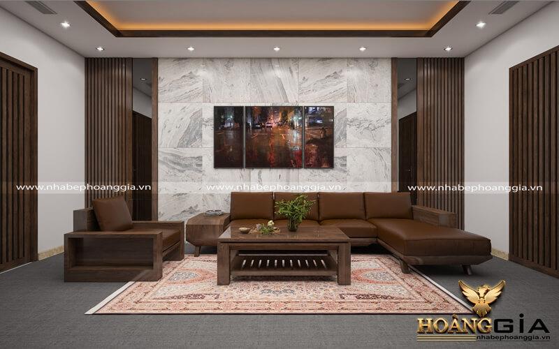 thiết kế tường ốp gỗ phòng khách