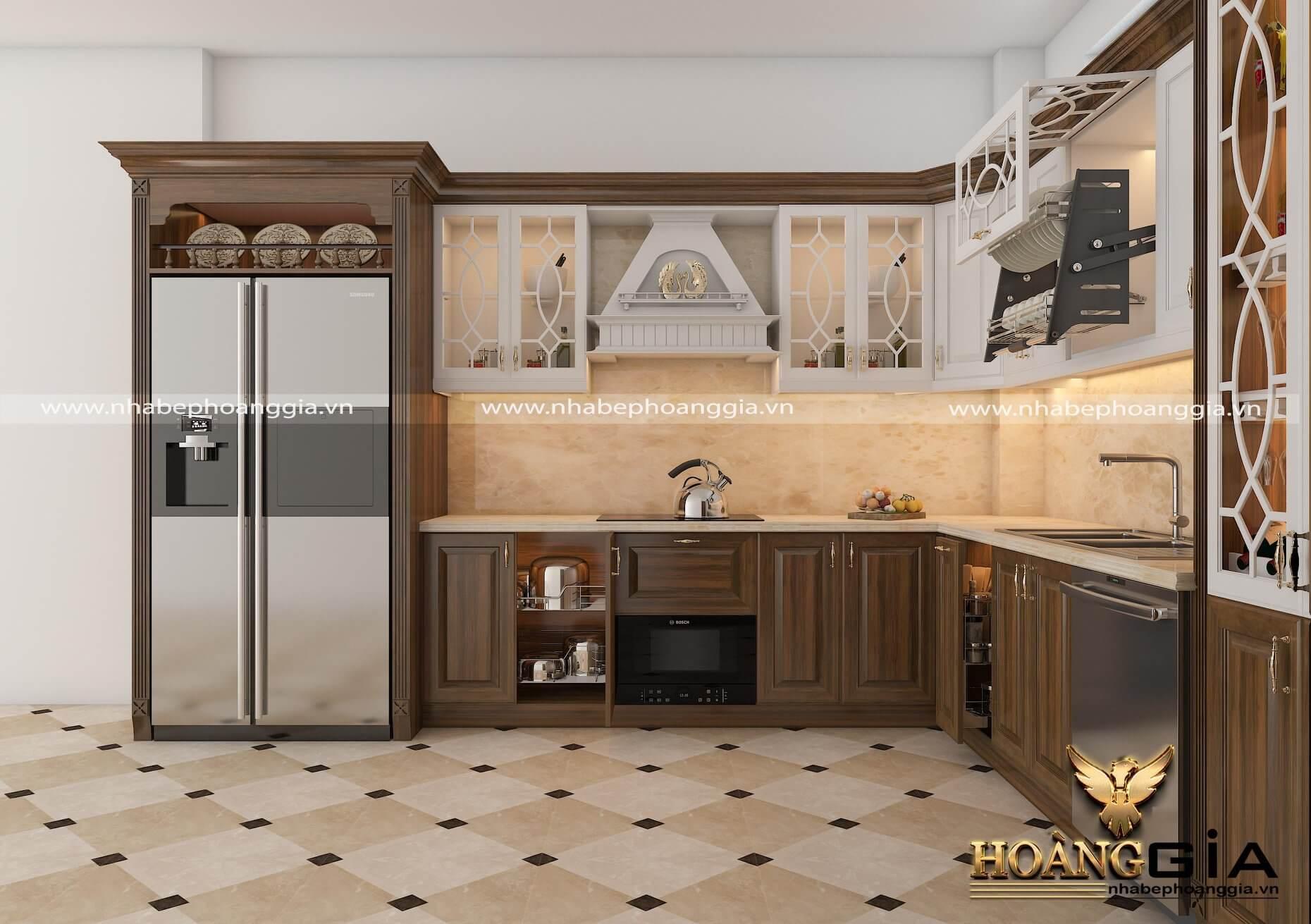 Tủ bếp gỗ sồi tân cổ điển nhẹ nhàng