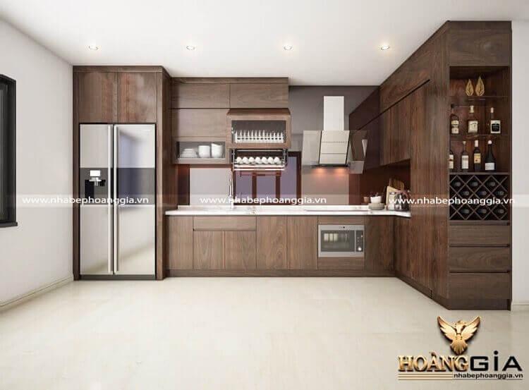 đóng tủ bếp gỗ óc chó cao cấp tại Hà Nội