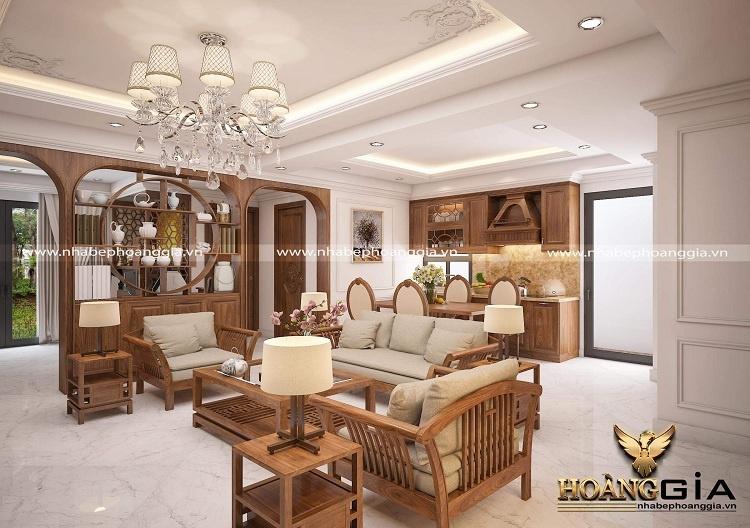 thiết kế phòng khách liên thông bếp