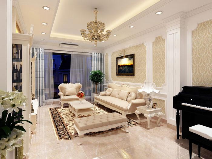 thiết kế phòng khách tân cổ điển nhà ống