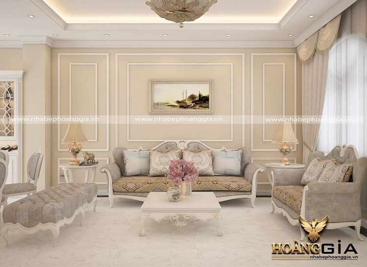 thiết kế phòng khách chung cư tân cổ điển