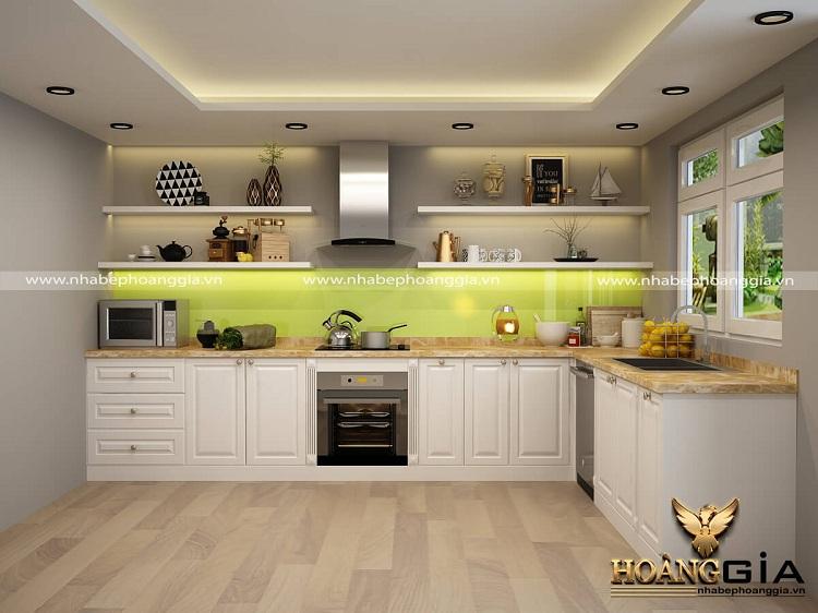 thiết kế tủ bếp gỗ tự nhiên hiện đại