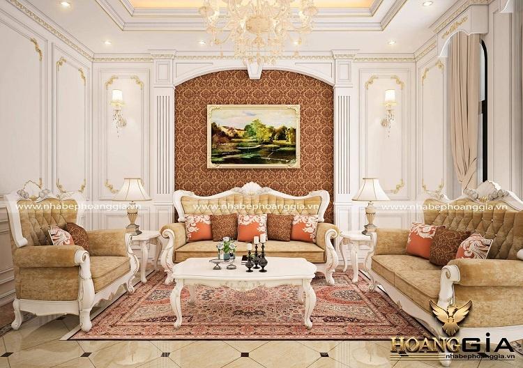 trang trí tường phòng khách tân cổ điển