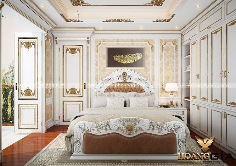 thiết kế phòng ngủ tân cổ điển sơn trắng