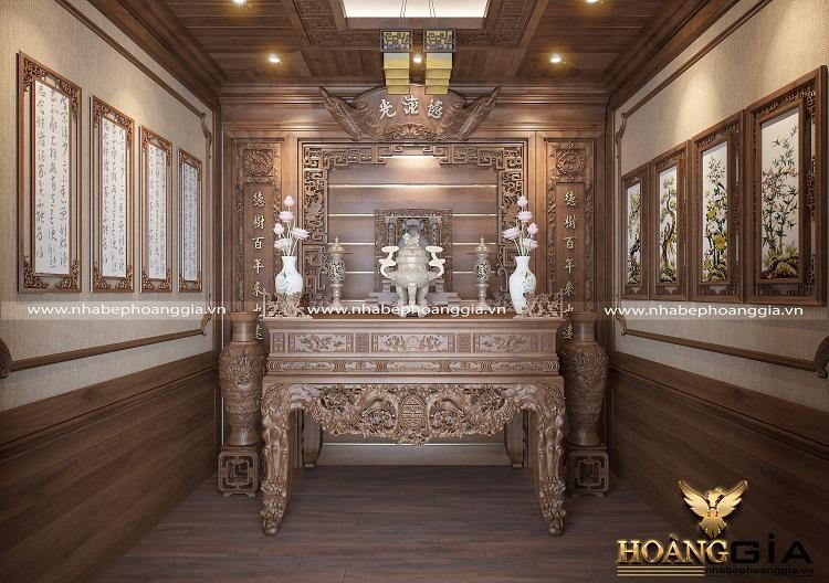 trang trí phòng thờ bằng gỗ