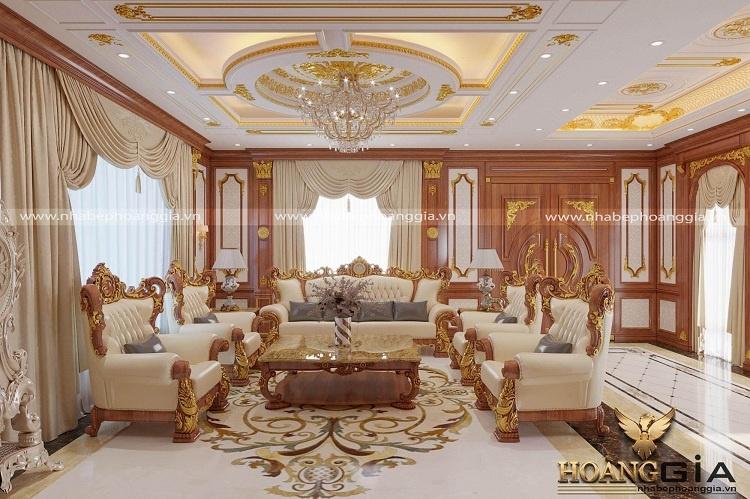 thiết kế phòng khách tân cổ điển hoàng gia
