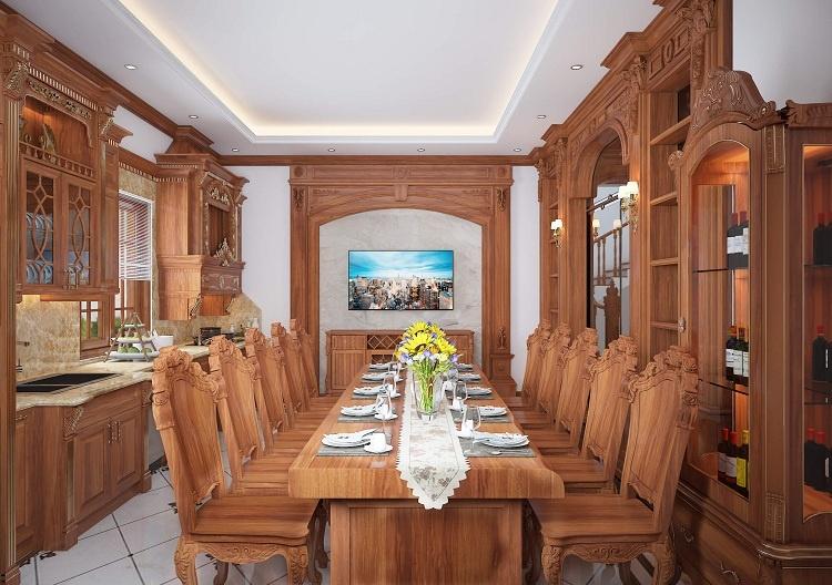 thiết kế phòng bếp tân cổ điển gỗ tự nhiên