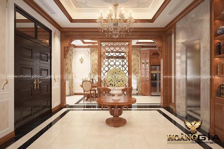thiết kế phòng khách tân cổ điển nhẹ nhàng