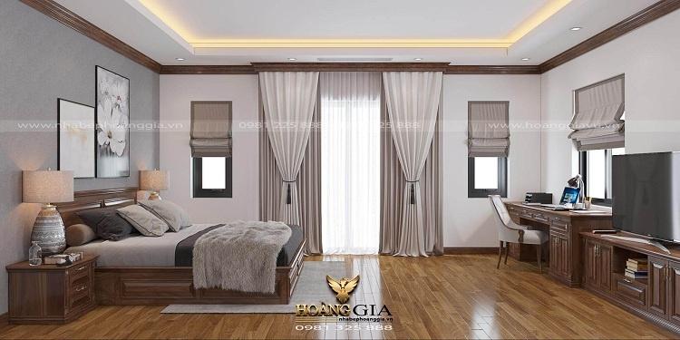 thiết kế phòng ngủ gỗ tự nhiên hiện đại