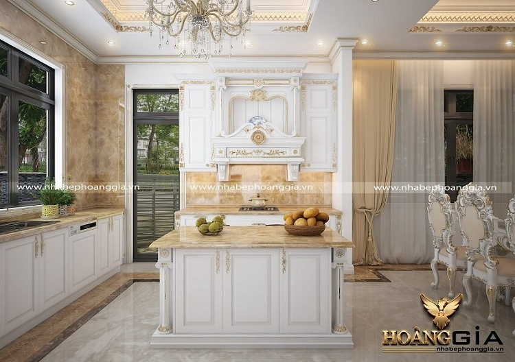 tủ bếp tân cổ điển sơn trắng