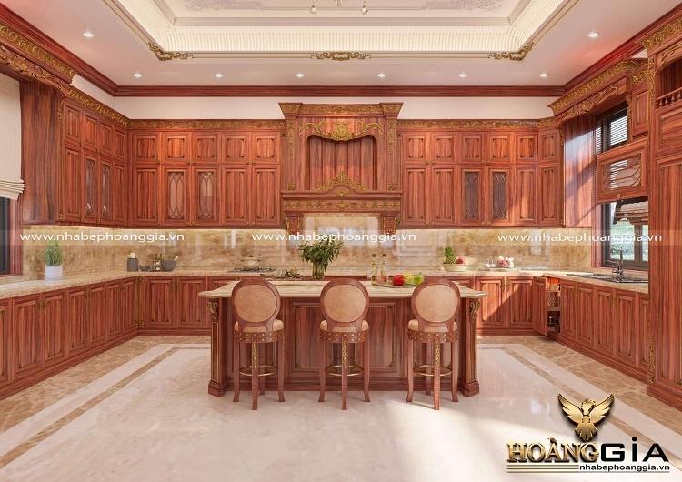 thiết kế phòng bếp tân cổ điển nhà biệt thự