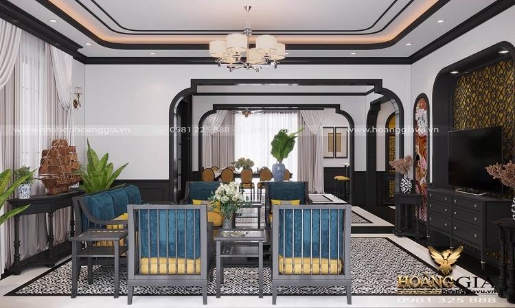 thiết kế phòng khách bếp phong cách Indochine