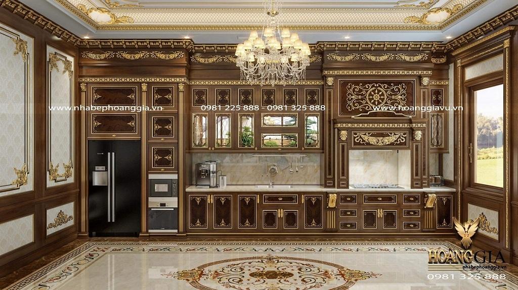 tủ bếp cổ điển dát vàng