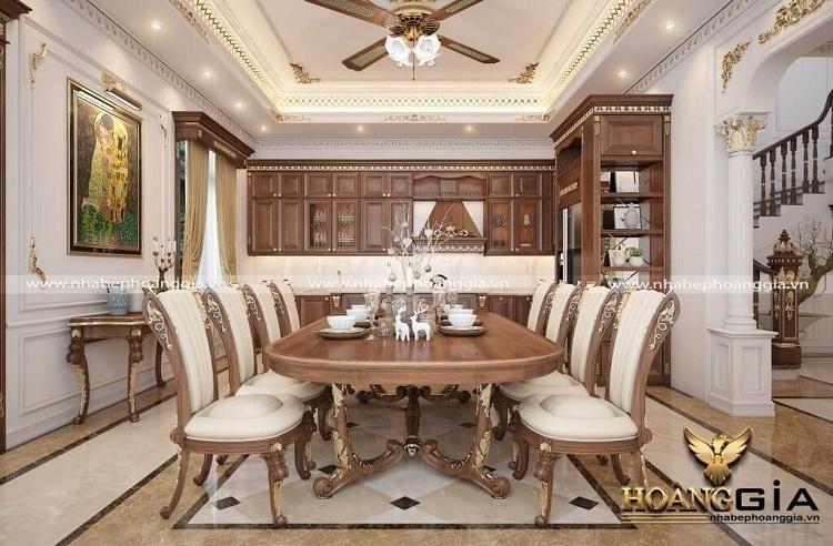 tủ bếp kết hợp với bàn ăn