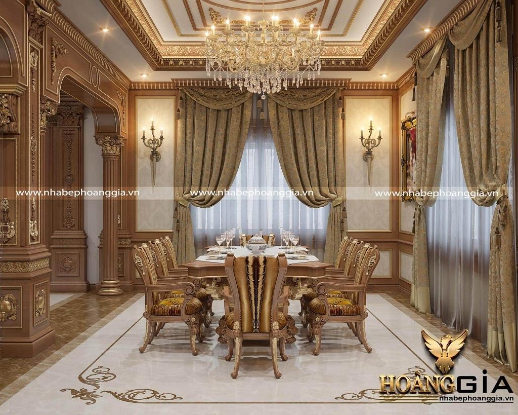thiết kế tủ bếp tân cổ điển dát vàng