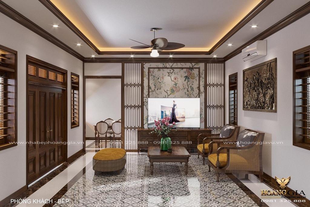 thiết kế nội thất phòng khách bếp tân cổ điển truyền thống