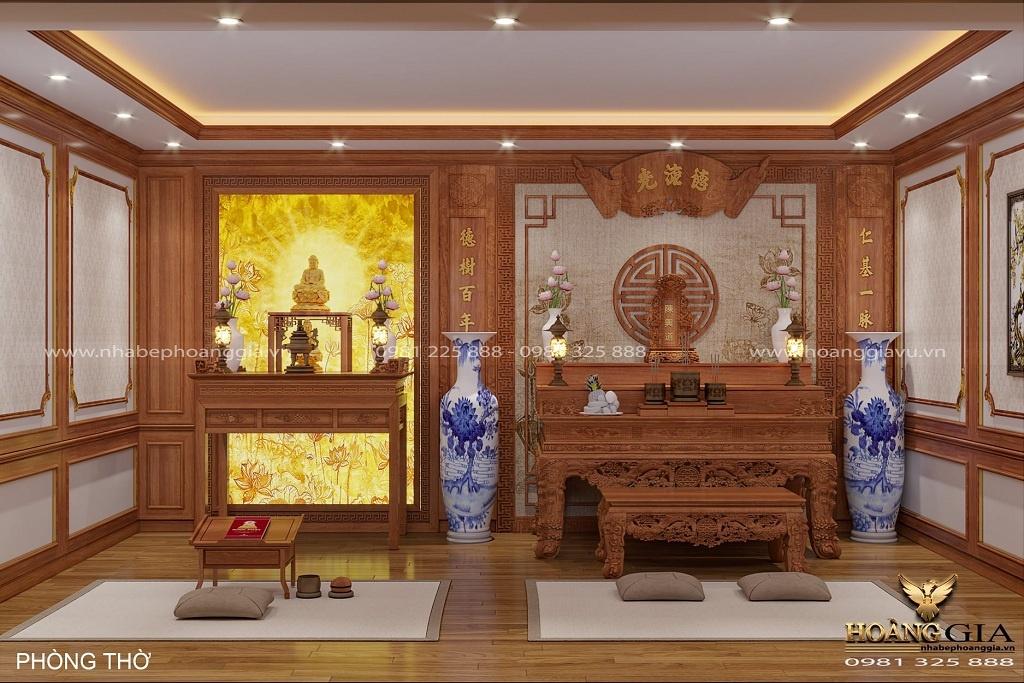 thiết kế bàn thờ Phật kết hợp với bàn thờ gia tiên