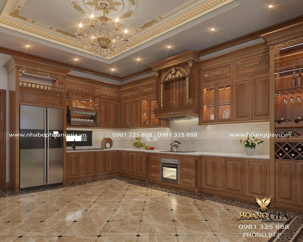 thiết kế tủ bếp tân cổ điển gỗ gõ đỏ