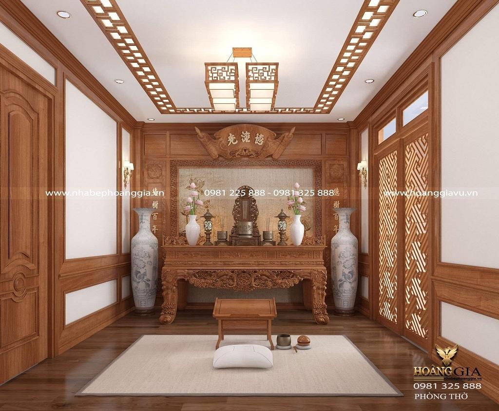thiết kế phòng thờ gỗ tự nhiên