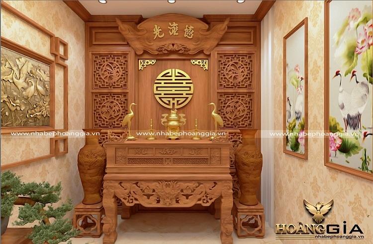bố trí phòng thờ nhà ống