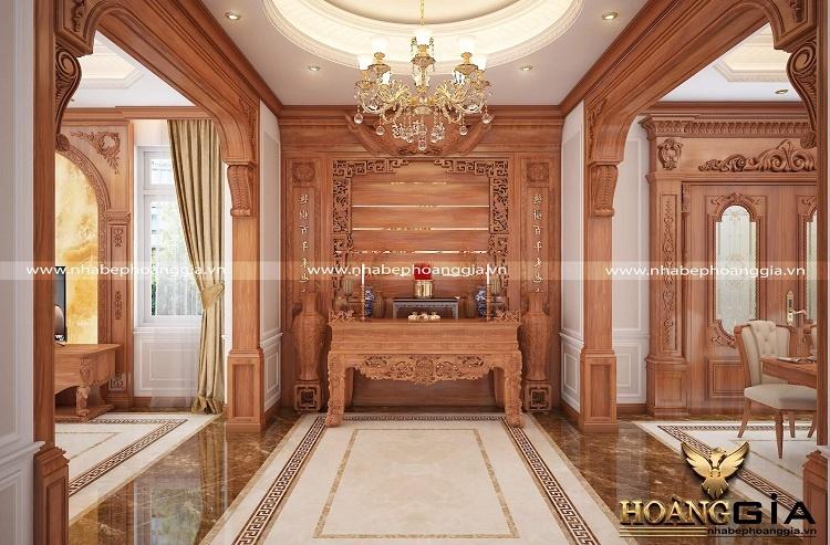 thiết kế bàn thờ gỗ tự nhiên