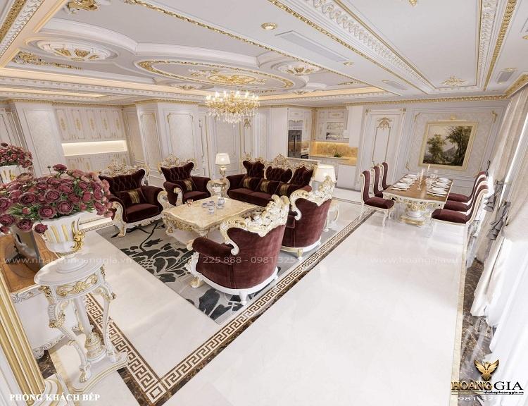 thiết kế phòng khách bếp tân cổ điển