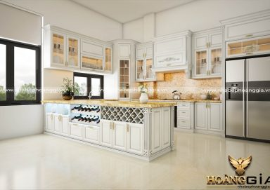 Mẫu tủ bếp gỗ tự nhiên sơn trắng 16