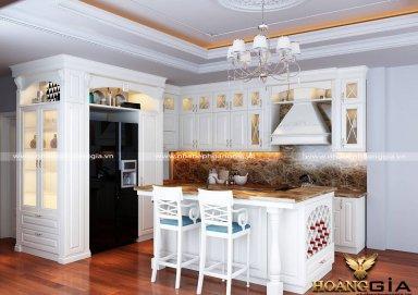 Mẫu tủ bếp gỗ tự nhiên sơn trắng 13