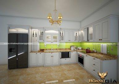 Mẫu tủ bếp gỗ tự nhiên sơn trắng 12