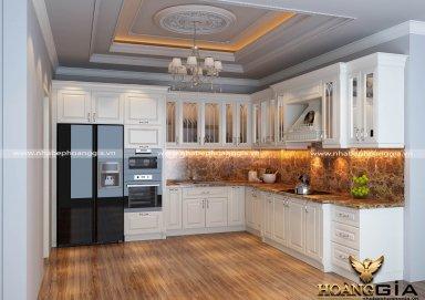 Mẫu tủ bếp gỗ tự nhiên sơn trắng 11