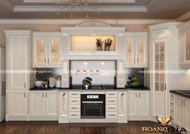 Mẫu tủ bếp gỗ tự nhiên sơn trắng 08