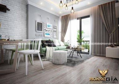 Mẫu thiết kế phòng khách chung cư gam màu xám ghi hiện đại PKHD03