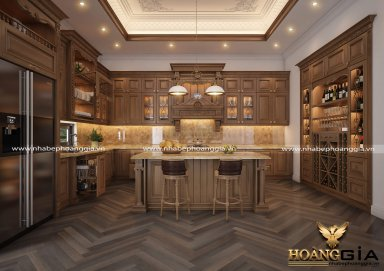 Cập nhật xu hướng thiết kế tủ bếp tân cổ điển cho nhà biệt thự