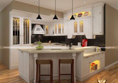 Mẫu tủ bếp gỗ tự nhiên sơn trắng 03