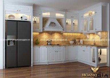 Mẫu tủ bếp gỗ tự nhiên sơn trắng 05